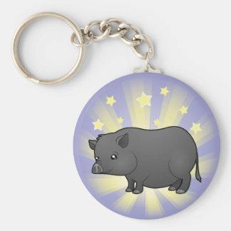Little Star Miniature Pig Basic Round Button Keychain