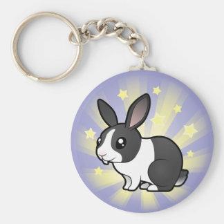 Little Star Rabbit (uppy ear smooth hair) Basic Round Button Keychain