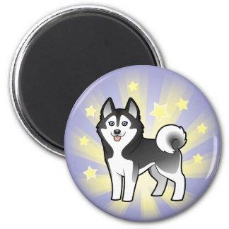 Little Star Siberian Husky / Alaskan Malamute 2 Inch Round Magnet