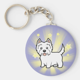 Little Star West Highland White Terrier Basic Round Button Keychain