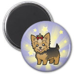 Little Star Yorkshire Terrier (short hair & bow) 2 Inch Round Magnet