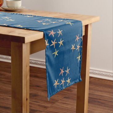 Beach Themed Little Starfish Navy Blue Coastal Table Runner