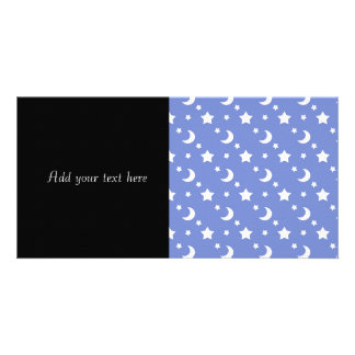 Little Stars and Moons Pattern on Blue Photo Card