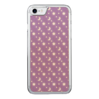 Little Stars and Moons Purple Background Pattern Carved iPhone 8/7 Case