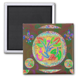 Little Stars Floral Art 2 Inch Square Magnet