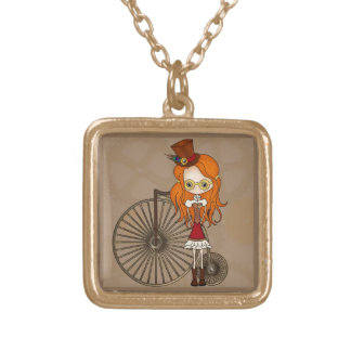 Little Steampunk Sweetheart Cartoon Square Pendant Necklace