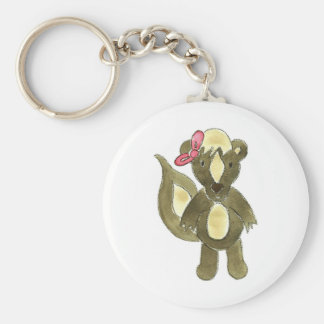 Little Stinker Skunk Pink Bow Keychain