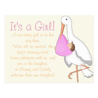 """Little Stork"" It's a Girl! Postcard"