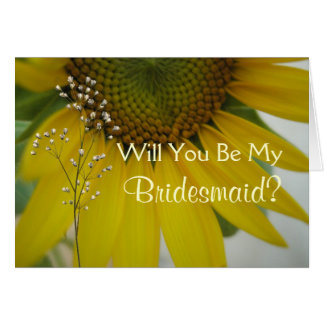 Little Sunflower Will You Be My Bridesmaid Request Card