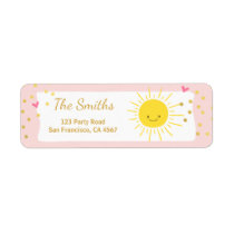 Little sunshine Address Labels Summer Pink Gold
