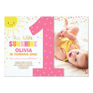 Little Sunshine Birthday invitation Lemonade Girl