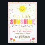 "Little sunshine Birthday invitation Pink Gold Girl<br><div class=""desc"">♥ A perfect way to invite your guests to your little one&#39;s birthday party! Little sunshine theme for a girl. Pink,  yellow and orange.</div>"