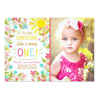 Little Sunshine Birthday Party Invitation Floral