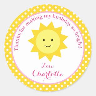 Little Sunshine Pink Yellow Birthday Party Favor Classic Round Sticker