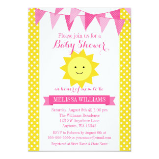 Little Sunshine Pink Yellow Bunting Baby Shower Card