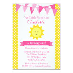 Little Sunshine Pink Yellow Bunting Birthday 5x7 Paper Invitation Card