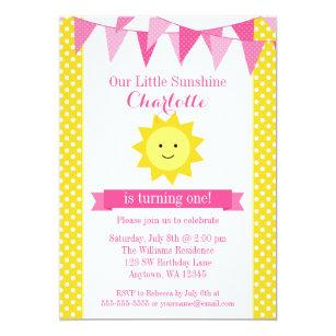 Little Sunshine Pink Yellow Bunting Birthday Invitation
