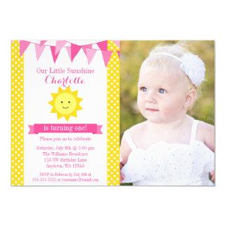 Little Sunshine Pink Yellow Bunting Birthday Photo Card
