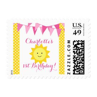 Little Sunshine Pink Yellow Bunting Birthday Stamp