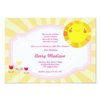 Little Sunshine Summer Spring Baby Shower birthday 5x7 Paper Invitation Card