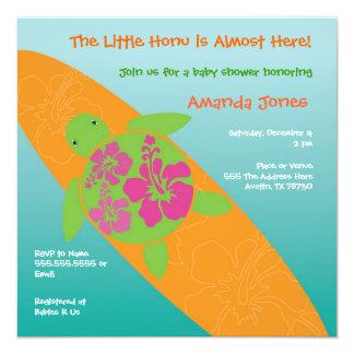 "Little Surf Rider Honu Baby Shower Invitation 5.25"" Square Invitation Card"