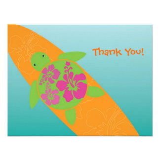 Little Surf Rider Honu Flat Thank You Card Personalized Invitation