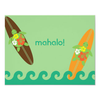 Little Surf Rider Honu Flat Thank You Note Card