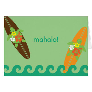 Little Surf Rider Honu Folded Thank You Note Card