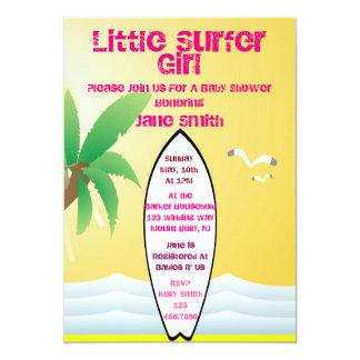 """Little Surfer Girl Baby Shower Invite 5"""" X 7"""" Invitation Card"""