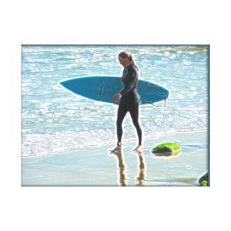 Little Surfer Girl Canvas Print