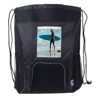 Little Surfer Girl Drawstring Backpack