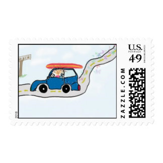 Little surfer girl postage