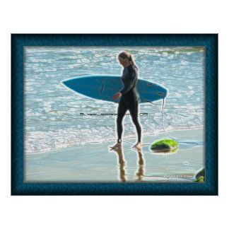Little Surfer Girl Poster