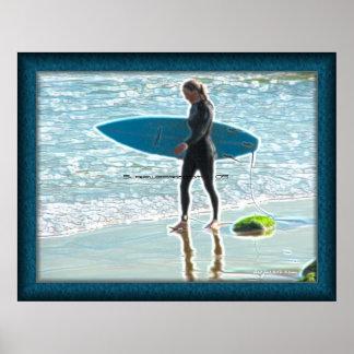 Little Surfer Girl Poster