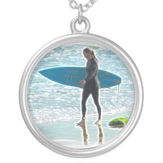 Little Surfer Girl Silver Plated Necklace