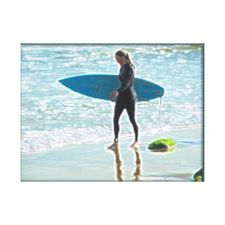 Little Surfer Girl Stretched Canvas Print