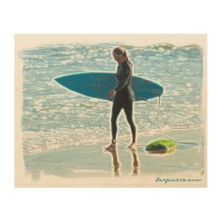 Little Surfer Girl Wood Wall Art