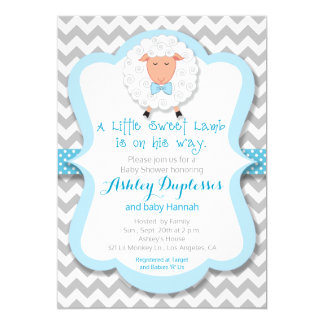Little Sweet Lamb Boy Baby Shower Invitation