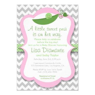 Little Sweet Pea Girl Baby Shower Invitation