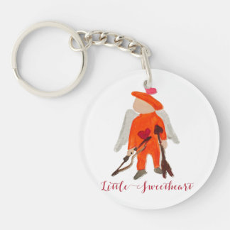 Little Sweetheart Valentine Water Colored Toddler Single-Sided Round Acrylic Keychain