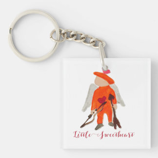 Little Sweetheart Valentine Water Colored Toddler Single-Sided Square Acrylic Keychain