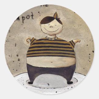 little tea pot classic round sticker