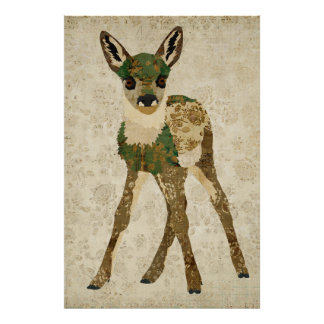 Little Teal Floral Fawn Art Poster