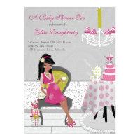 Little Teapot African American Baby Shower Tea Personalized Invitations