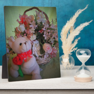 Little Teddy Bear Gives You a Flower Photo Plaques
