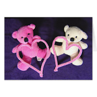 Little Teddy Bears and Hearts for Valentines Card