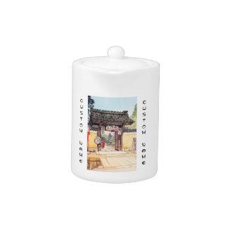 Little Temple Gate Hiroshi Yoshida shin hanga Teapot