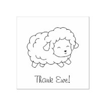 Little Thank Ewe (You) Sheep Color Me Rubber Stamp