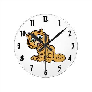 Little Tiger Round Clock
