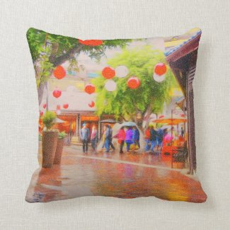 Little Tokyo Impressionistic Painting Throw Pillow